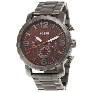 Fossil Men's 'Nate' Smoke-tone Steel Wood-inspired Dial Chronograph Watch