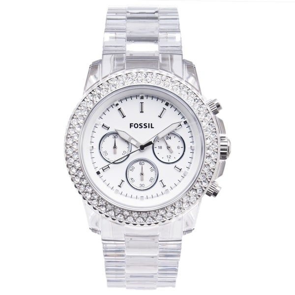 Fossil Women's Clear Plastic Glitz Chronograph Watch. Opens flyout.