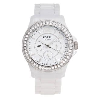 Fossil Women's CE1010 'Riley' White Ceramic Glitz Multifunction Watch