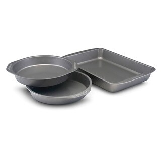 Farberware Nonstick Bakeware 3-piece Grey Cake Pan Set