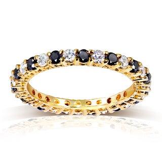 Annello by Kobelli 14k Yellow Gold 1ct TDW Black and White Diamond Ring