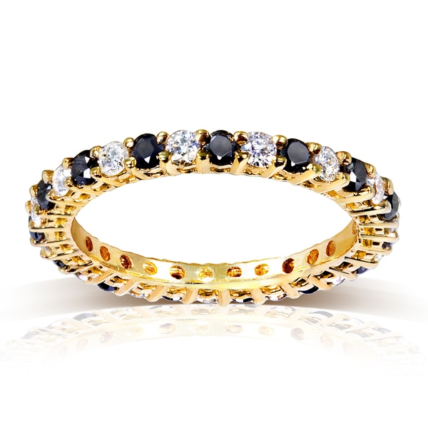 Annello by Kobelli 14k Yellow Gold 1ct TDW Black and White Diamond Ring (G-H, I1-I2)