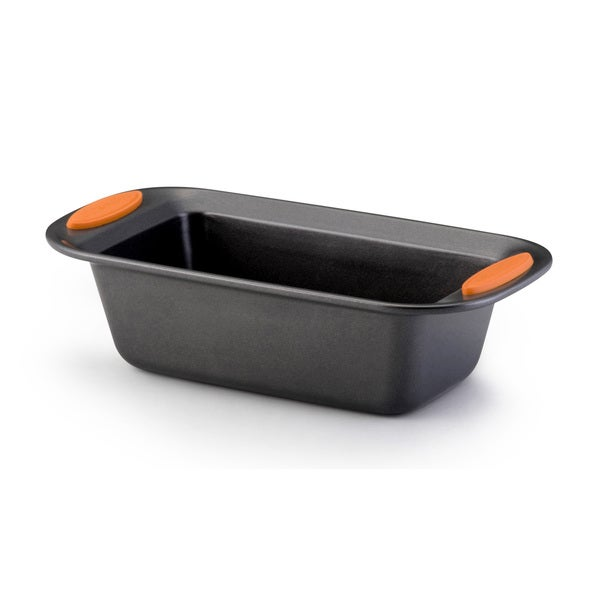Rachael Ray Yum-o! Nonstick Bakeware 9 x 5-inch Grey with Orange Handles Oven Lovin' Loaf Pan