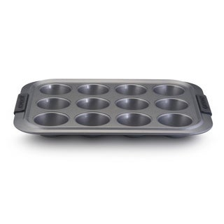 Anolon Advanced Nonstick Bakeware 12-cup Grey with Silicone Grips Muffin Pan