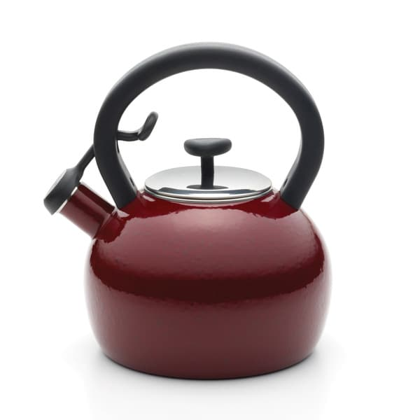 Paula Deen Signature Teakettles Enamel on Steel 2-quart Red Speckle Whistling Teakettle