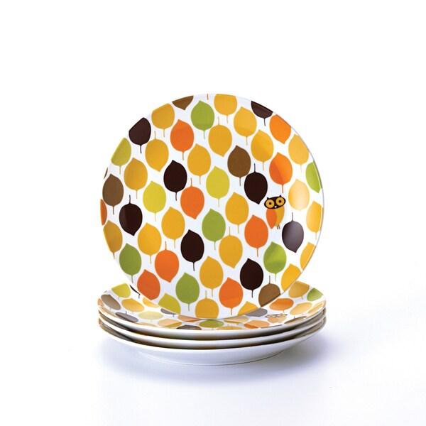 Rachael Ray Dinnerware Little Hoot 4-piece Salad Plate Set 8-inch