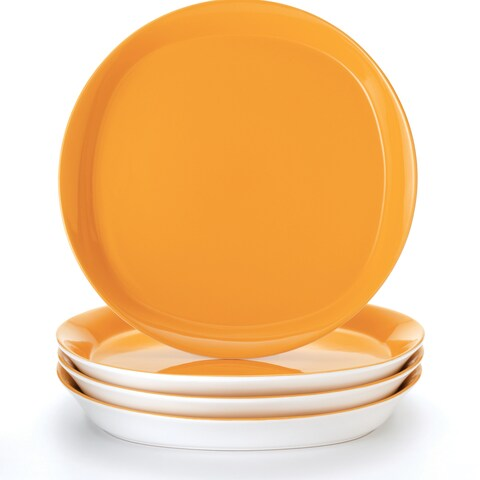 """Rachael Ray Round and Square """"Lemon Zest' 4-Piece Dinner Plate Set"""