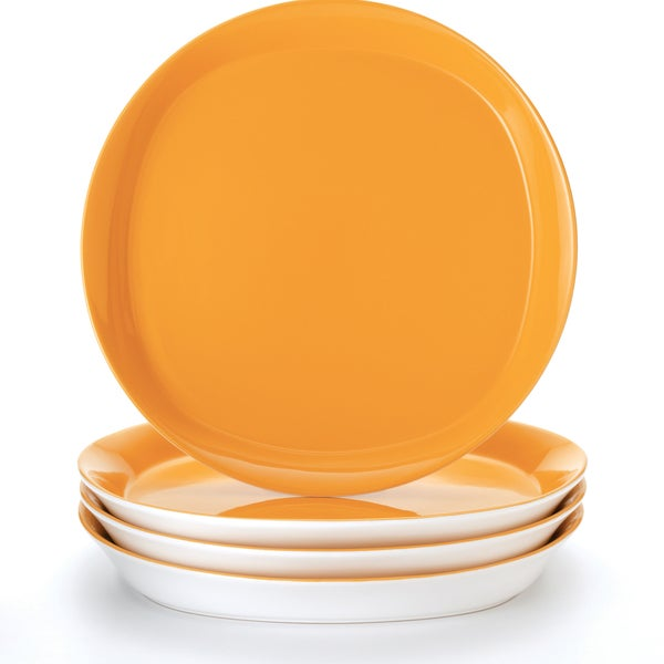 Rachael Ray Round and Square \ Lemon Zest\u0026#x27; 4-Piece Dinner Plate  sc 1 st  Overstock.com & Rachael Ray Round and Square \