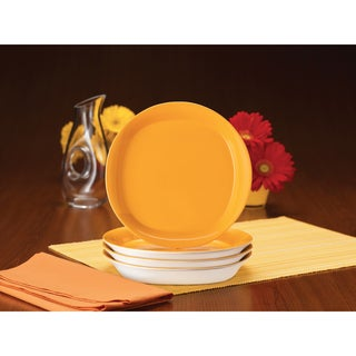 Rachael Ray 'Round and Square' 4-piece Lemon Zest Salad Plate Dinnerware Set