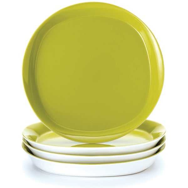 Rachael Ray \u0026#x27;Round and Square\u0026#x27; 4-piece Green  sc 1 st  Overstock & Rachael Ray \u0027Round and Square\u0027 4-piece Green Apple Dinner Plate Set ...