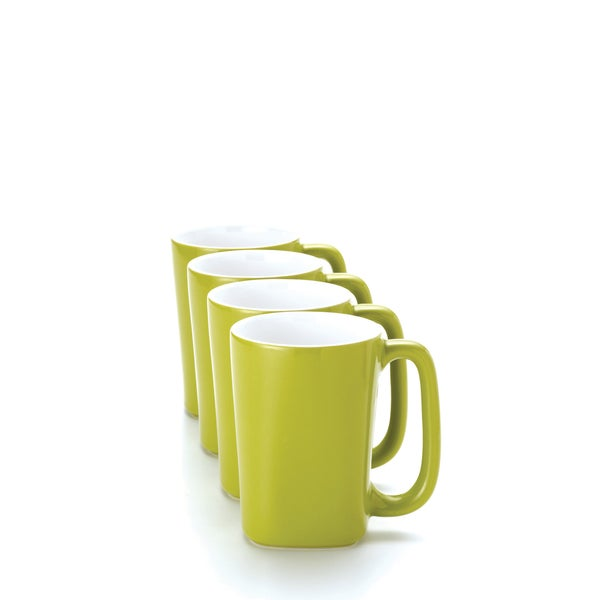 Rachael Ray 'Round and Square' 4-piece Green Apple Mug Set