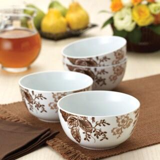 Paula Deen Tatnall Street Coffee Bean 5.5-inch Cereal Bowls (Set of 4)