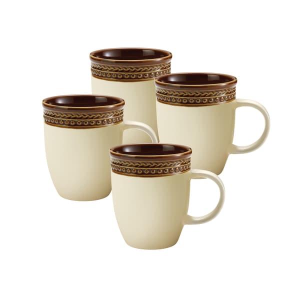 Paula Deen Dinnerware 4-piece Mug Set-Southern Gathering, Chestnut 12-ounce