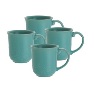 Paula Deen Whitaker Aqua 12-ounce Mugs (Set of 4)