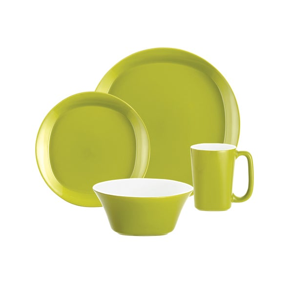Rachael Ray Round \u0026&; Square Green Apple 4-piece Dinnerware Set  sc 1 st  Overstock : green square dinnerware sets - pezcame.com