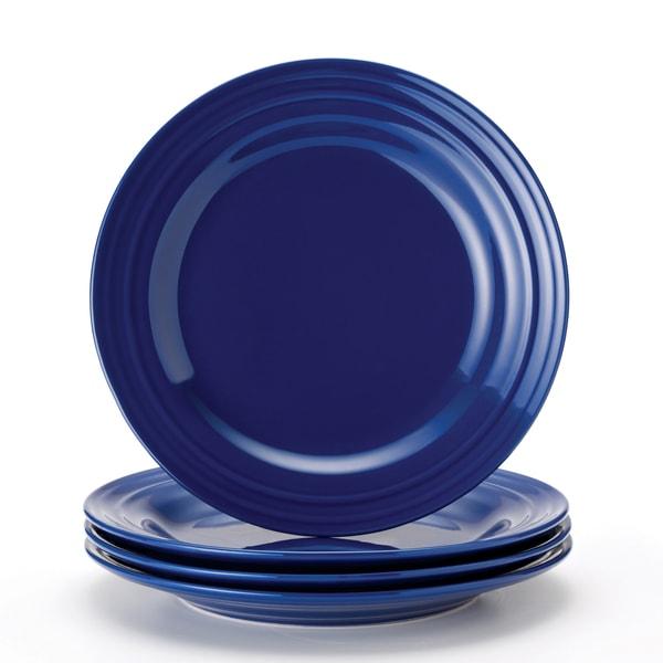 Rachael Ray Double Ridge 11 Inch Blue Dinner Plates Set