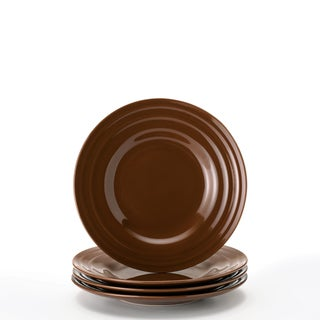 Rachael Ray Double Ridge Brown 8-inch Salad Plates (Set of 4)  sc 1 st  Overstock & Rachael Ray Dinnerware For Less | Overstock