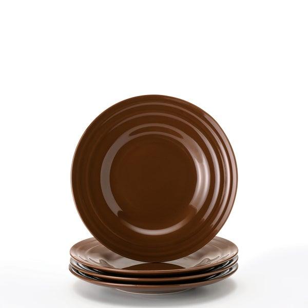 Rachael Ray Double Ridge Brown 8-inch Salad Plates (Set of 4)  sc 1 st  Overstock.com & Rachael Ray Double Ridge Brown 8-inch Salad Plates (Set of 4) - Free ...