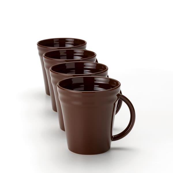 Rachael Ray Double Ridge 12-ounce Brown Mugs (Set of 4)