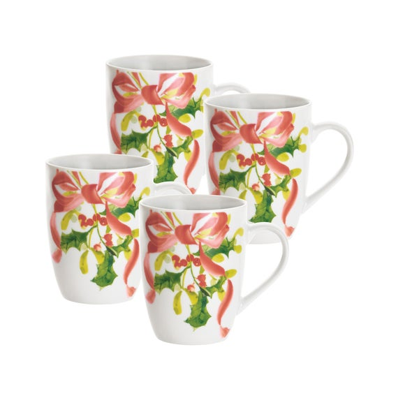 Paula Deen Christmas Wreath 11 ounce Mugs Set Of 4