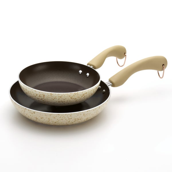 Paula Deen Signature Porcelain Twin Pack: 8-Inch and 10-Inch Open Skillets, Oatmeal Speckle