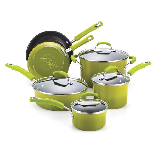 Rachael Ray Porcelain II Green 10-piece Cookware Set with $30 Mail-in Rebate