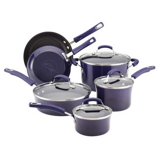 Rachael Ray Hard Enamel Nonstick 10-piece Purple Gradient Cookware Set