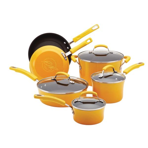 Rachael Ray Porcelain II Yellow 10-piece Cookware Set