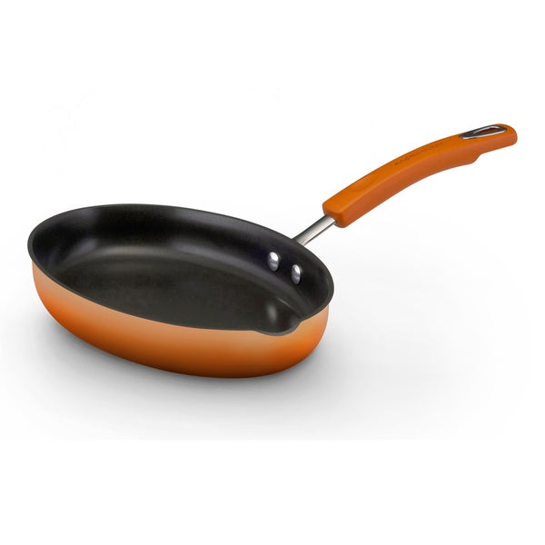 Rachael Ray Hard Enamel Cookware Orange 11.5-inch Oval Skillet