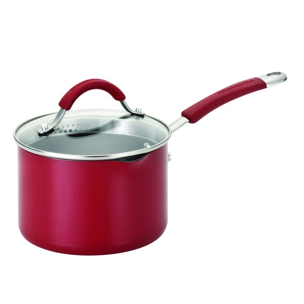 KitchenAid Porcelain Nonstick Red 2-Quart Straining Saucepan