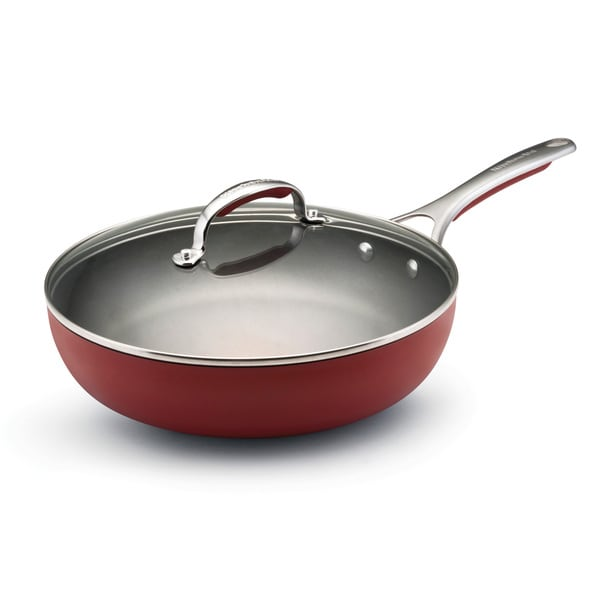 KitchenAid Gourmet Porcelain Nonstick Red 11-Inch Covered Deep Skillet