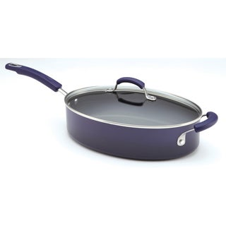 Rachael Ray Porcelain II 5-Quart Covered Purple Saute Pan with Helper Handle