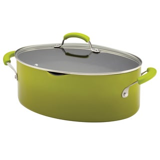 Rachael Ray Porcelain II 8-Quart Green Gradient Covered Oval Pasta Pot with Pour Spout