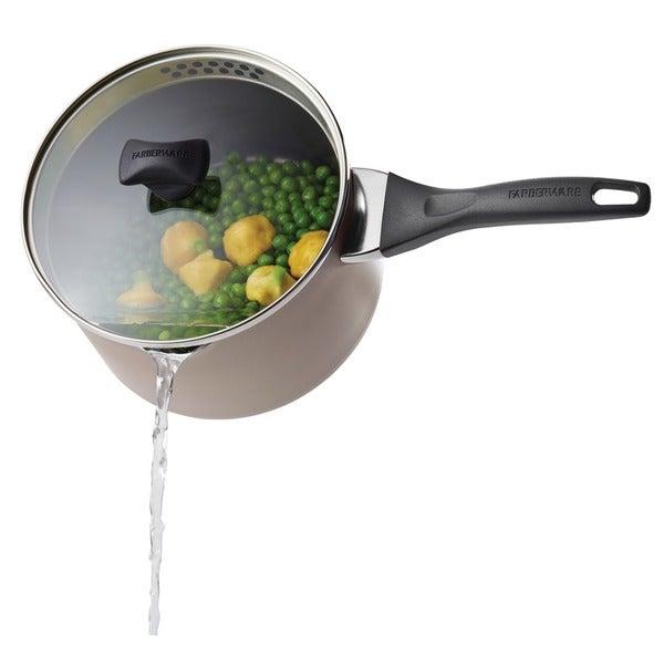 Farberware Nonstick 3-Quart Champagne Straining Saucepan with Pour Spouts