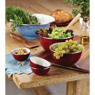 Paula Deen Signature Enamel on Steel 2-piece Mixing Set: 1.5-quart and 3-quart Mixing Bowl, Red
