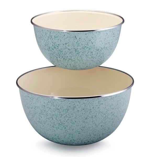 Paula Deen Signature Enamel on Steel 2-piece Mixing Set: 1.5-quart and 3-quart Mixing Bowl, Blue