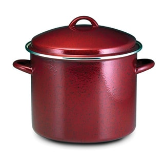 Paula Deen Signature Enamel on Steel 12-quart Red Speckle Covered Stockpot