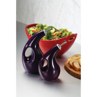 Rachael Ray Serveware EVOO and Vinegar Purple Stoneware Bottle Set