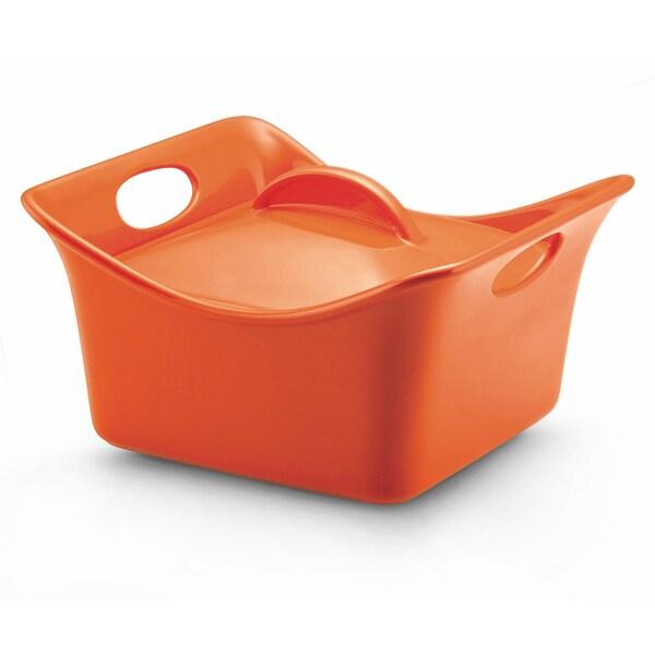 Rachael Ray Stoneware Cassersquare 3.5-Quart Orange Covered Baking Dish