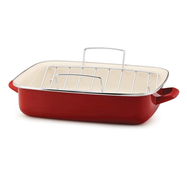 Rachael Ray Red 16.5-inch Roaster with Rack