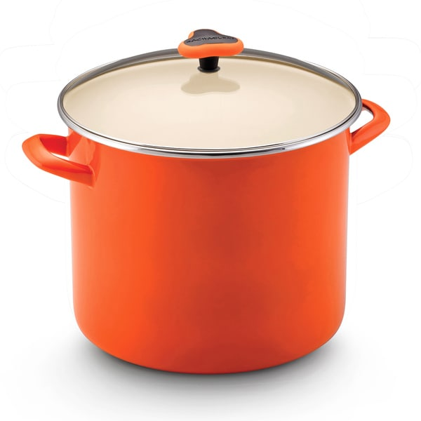 Rachael Ray Enamel on Steel Orange 12-quart Covered Stockpot
