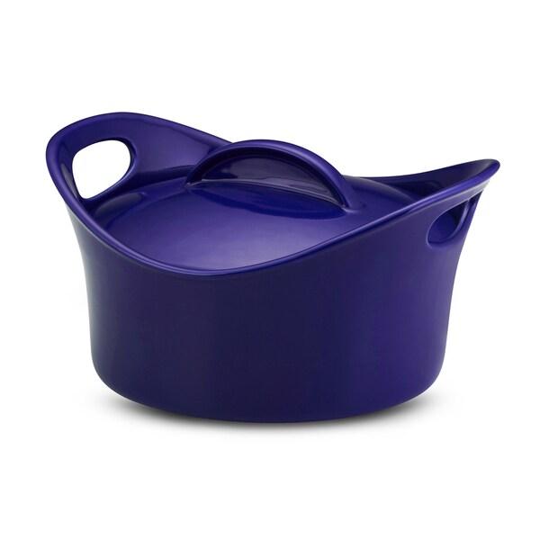Rachael Ray Stoneware Blue 2.75-quart Casserround Covered Baking Dish