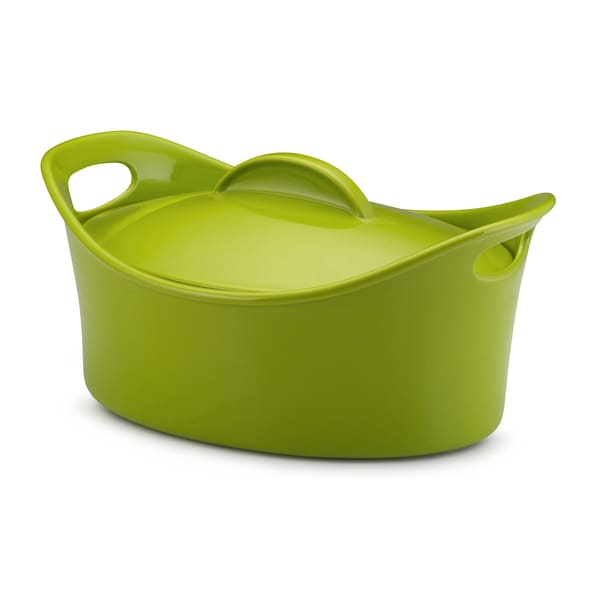 Rachael Ray Stoneware 4.25-Quart Green Casseroval Covered Baking Dish