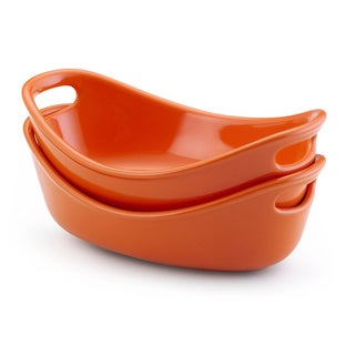 Rachael Ray Stoneware Orange 12-oz Bubble and Brown Bakers (Set of 2)