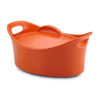 Rachael Ray Orange Stoneware 4.25-Quart Casseroval Covered Baking Dish