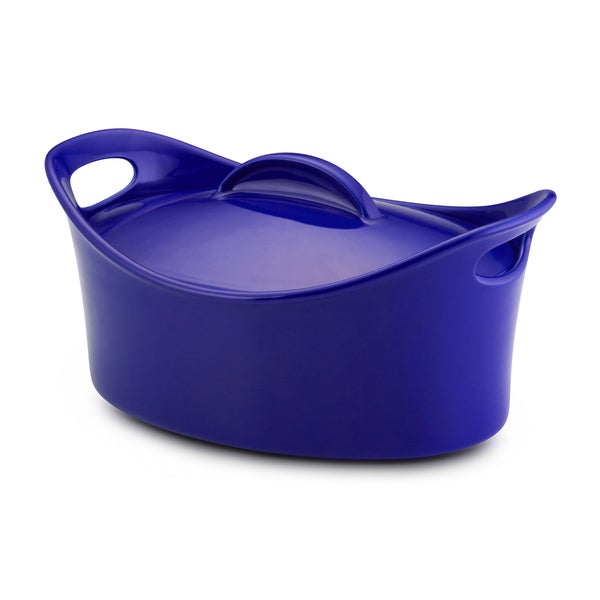 Rachael Ray Stoneware 4.25-Quart Blue Casseroval Covered Baking Dish