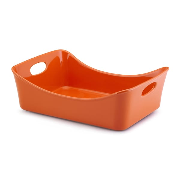 Rachael Ray Stoneware 9 x 13-inch Orange Lasagna Lover Baker and Roaster