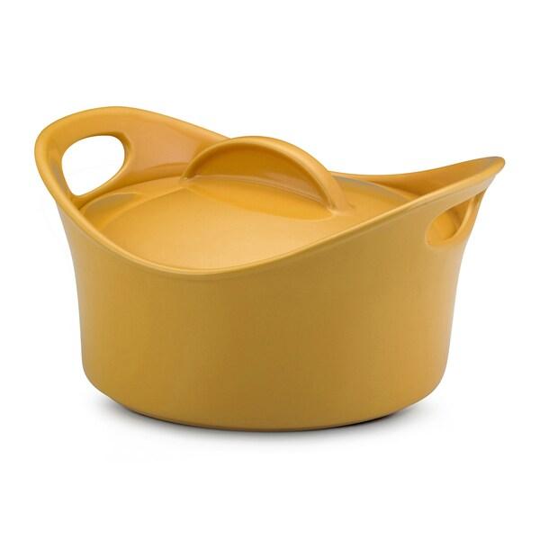 Rachael Ray Stoneware Yellow 2.75-quart Casserround Covered Baking Dish