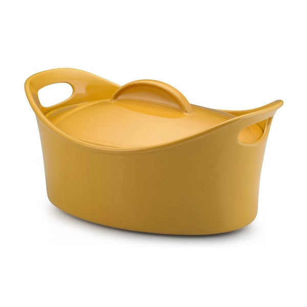 Rachael Ray Stoneware 4.25-Quart Yellow Casseroval Covered Baking Dish