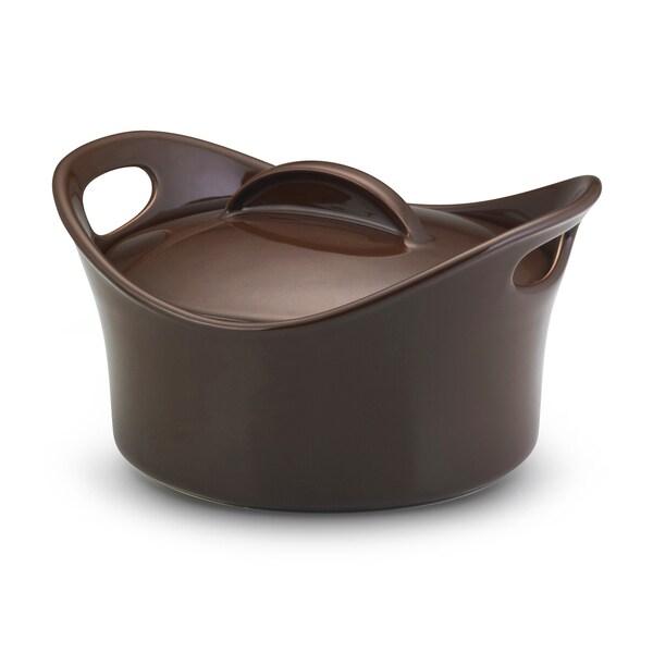 Rachael Ray Stoneware Chocolate 2.75-quart Casserround Covered Baking Dish